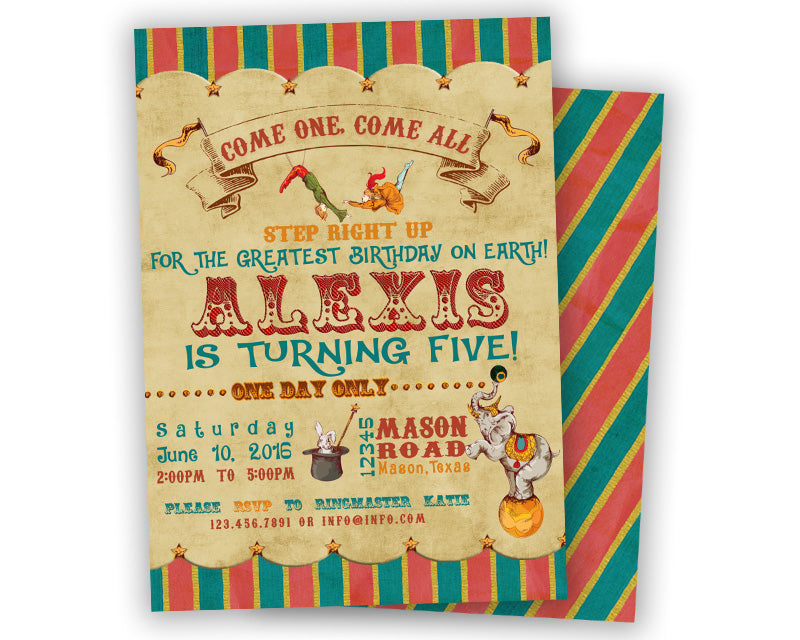 Vintage Circus Birthday Invitations Red Blue