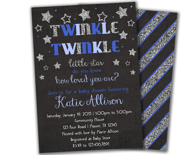Boy blue twinkle twinkle baby shower invitation party print express baby shower invites filmwisefo