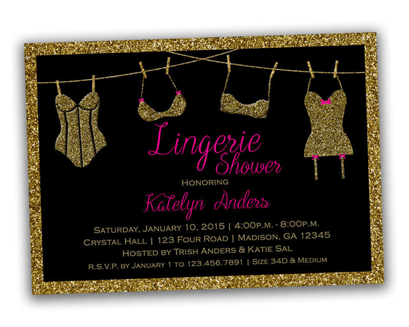 gold glitter bridal lingerie shower invitations party print express