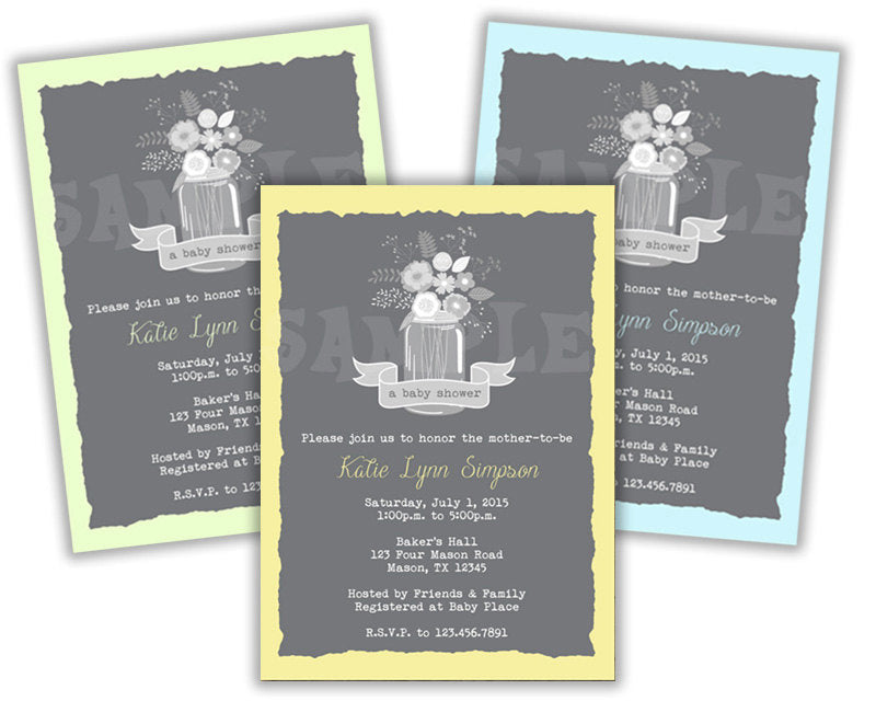 Country Mason Jar Baby Shower Invitations Boy Party Print Express