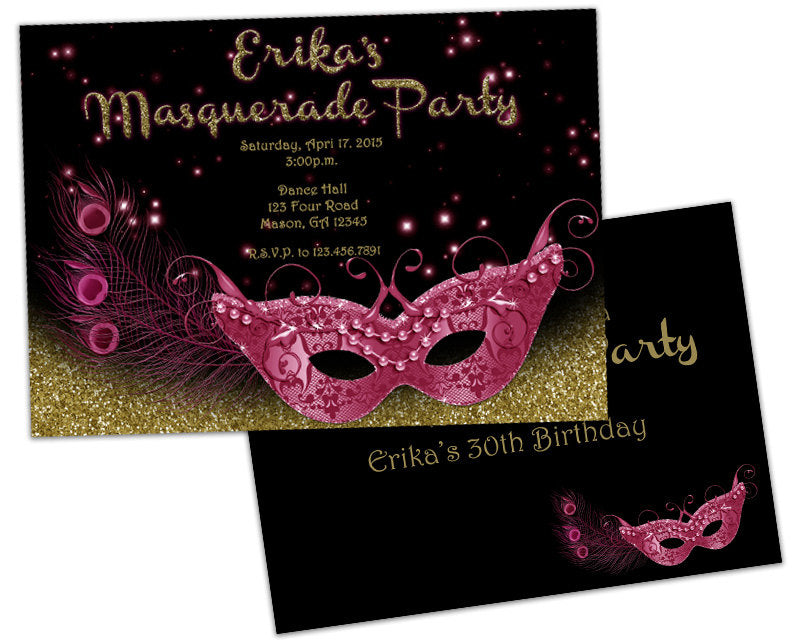 Pink And Gold Peacock Masquerade Sweet 16 Invitations