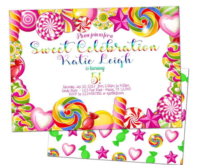 pink candy birthday invitations party print express