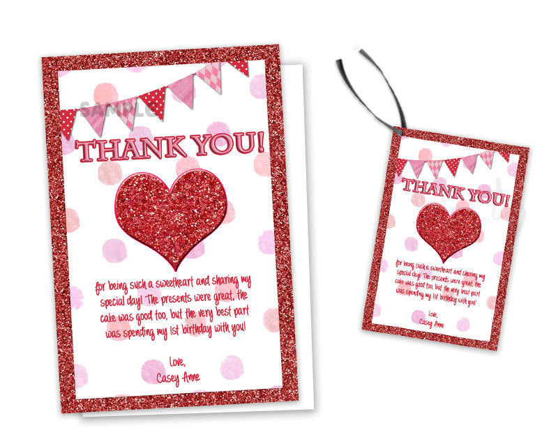 Sweetheart Birthday Thank You Cards Or Tags Party Print Express
