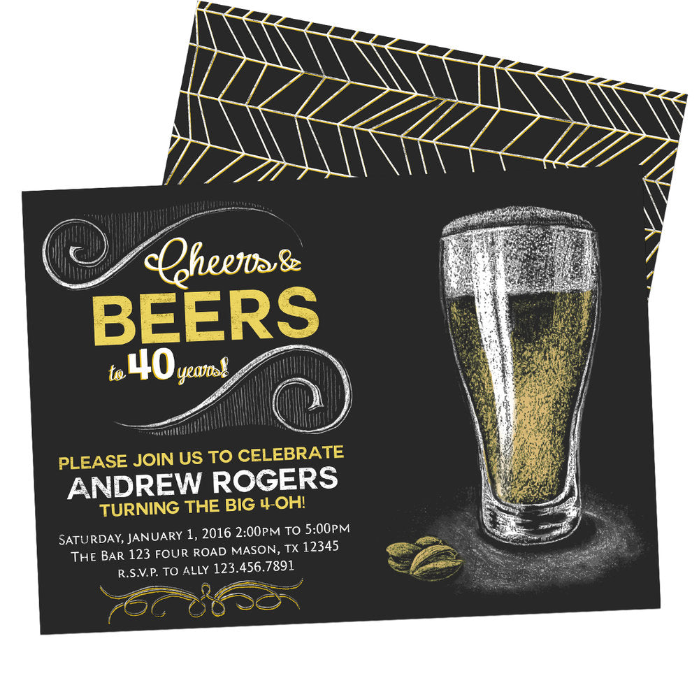 Cheers and beers adult birthday invitation chalk party print express filmwisefo
