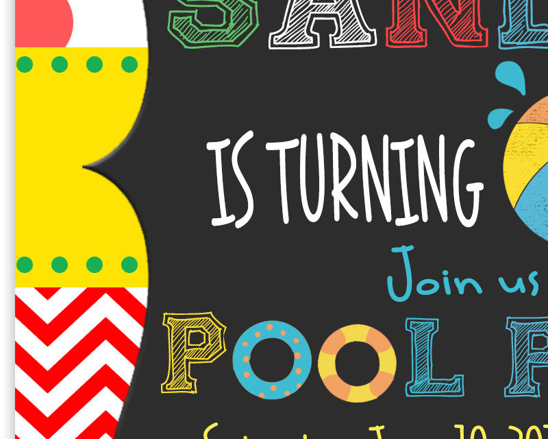 Pool Party 1st Birthday Invitation
