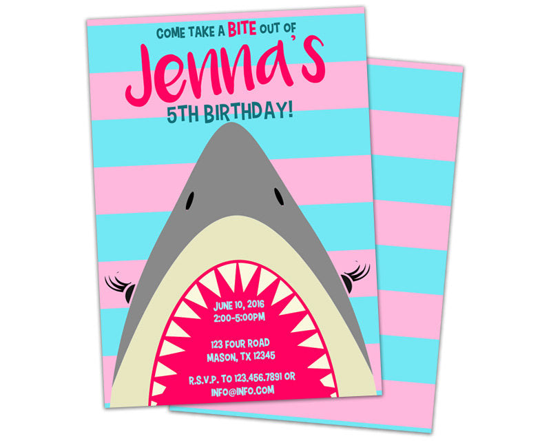 Girl shark birthday invitations party print express filmwisefo