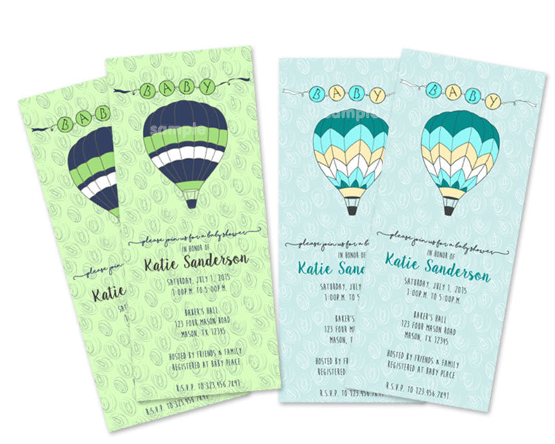 Hot Air Balloon Baby Shower Invitations Vertical Party Print Express