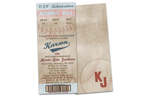 Vintage Baseball Baby Shower Invitations Boy Ticket