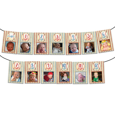 Baseball 1st Birthday Photo Banner