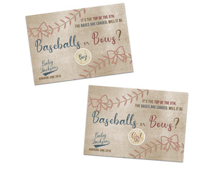 Baseball or Bows Gender Reveal Scratch Offs