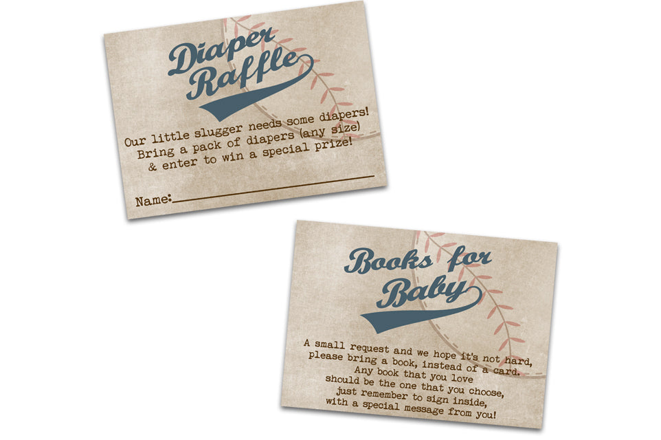 Vintage Baseball Baby Shower Diaper Raffle Tickets or Books for Baby