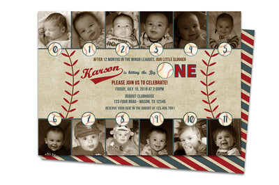 Keepsake Baseball Slugger 1st Birthday Invitations