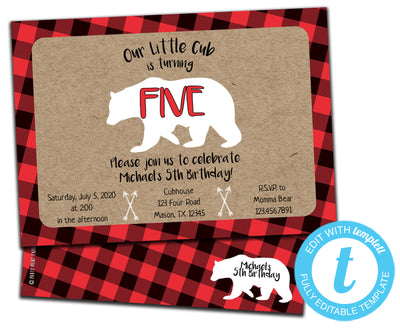 DIY Little Bear Cub Birthday Invitations - FREE DEMO