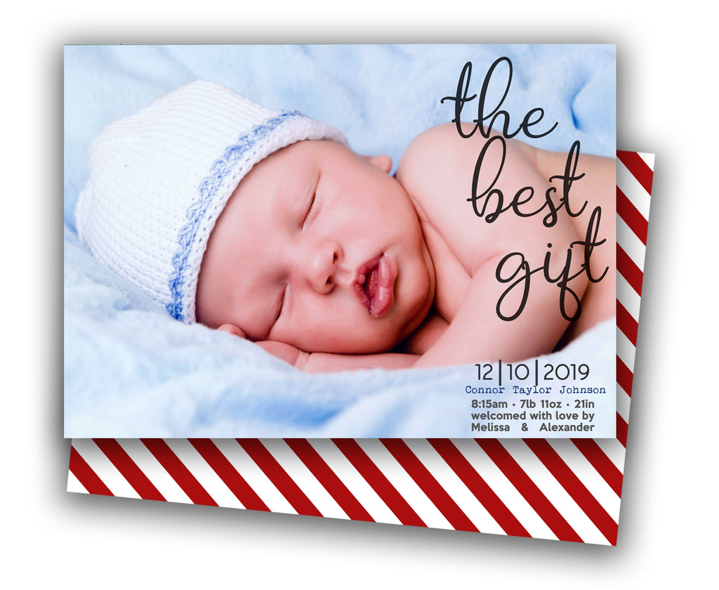 Photo Christmas Birth Announcement Cards