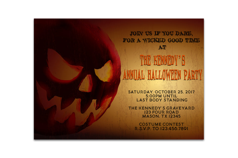 Adult Halloween Invitation Party Jackolantern