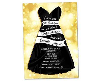 Little Black Dress Invitation Bridal Shower