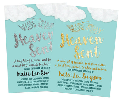 Blue Heaven Sent Baby Shower Invitation