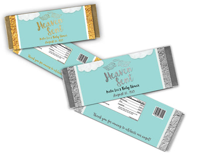 Blue Heaven Sent Baby Shower Candy Bar Wrappers