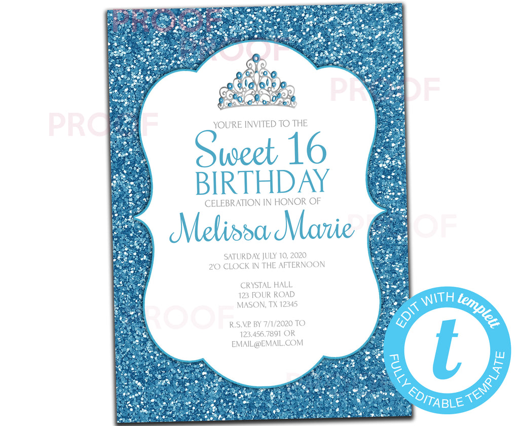 DIY White and Blue Glitter Sweet 16 Invitations - FREE DEMO