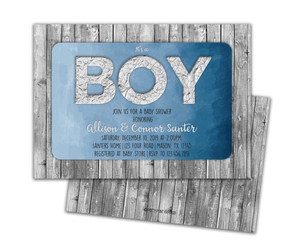 Rustic Blue It's a BOY Baby Shower Invitations