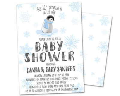 Penguin Baby Shower Invitations Blue Snowflake Boy