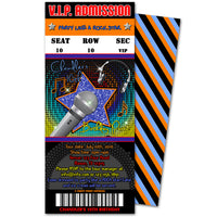 Boys Pop Star Birthday Ticket Invitations