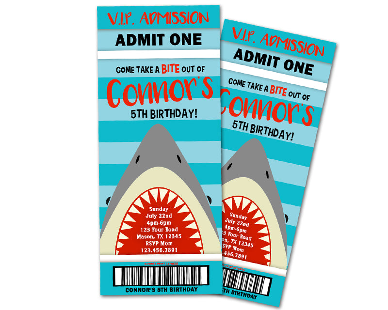 Shark Ticket Invitations Boy