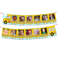 12 Month Bus 1st Birthday Photo Banner Round and Round