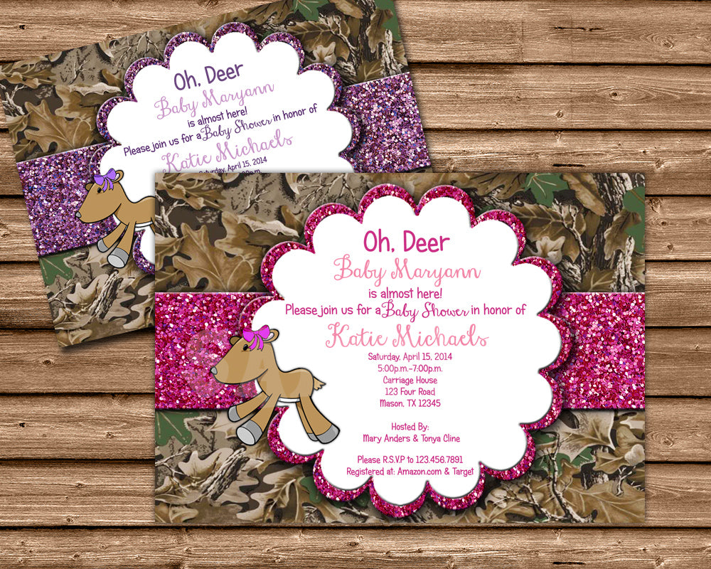 Oh Deer Glitter Camouflage Baby Shower Invitation Party Print Express
