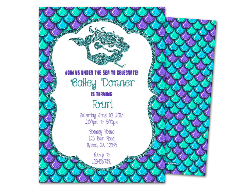 elegant glitter mermaid birthday invitations party print express