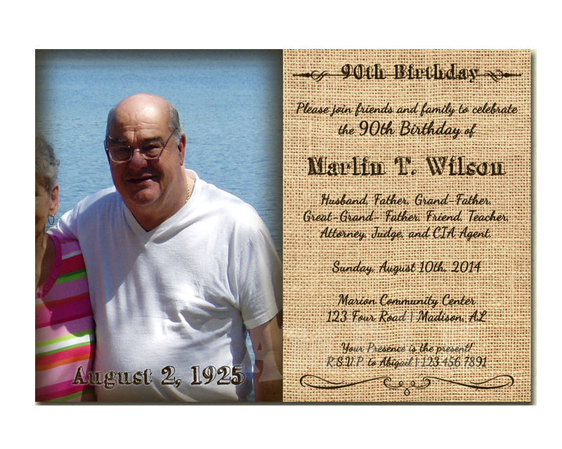 Burlap 90th Birthday Invitation With Photo