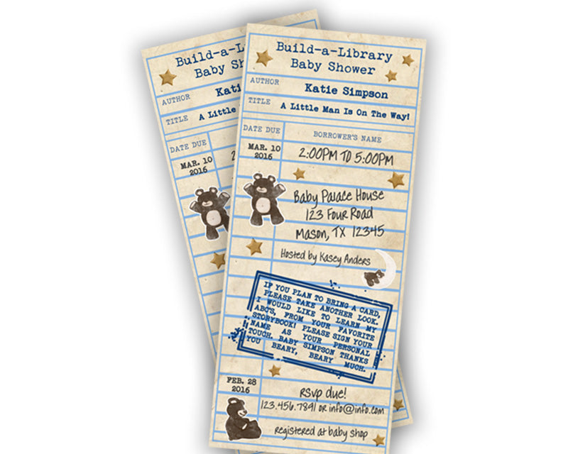Boy teddy bear library card baby shower invitation party print express baby shower invites filmwisefo