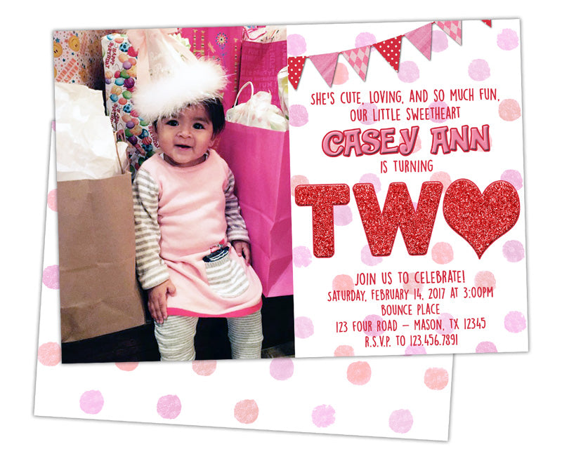 Valentine Sweetheart 2nd Birthday Invitations Party Print Express