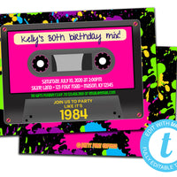 DIY Retro Pink Cassette Invitations - FREE DEMO