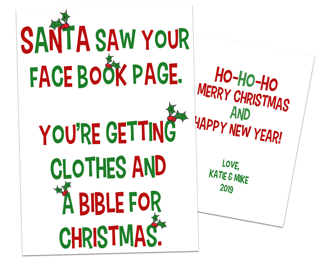 Funny Facebook Christmas Cards Bible and Clothes