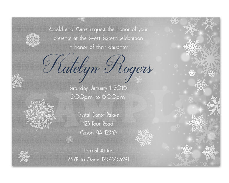 elegant snowflake sweet 16 birthday invitations party print express