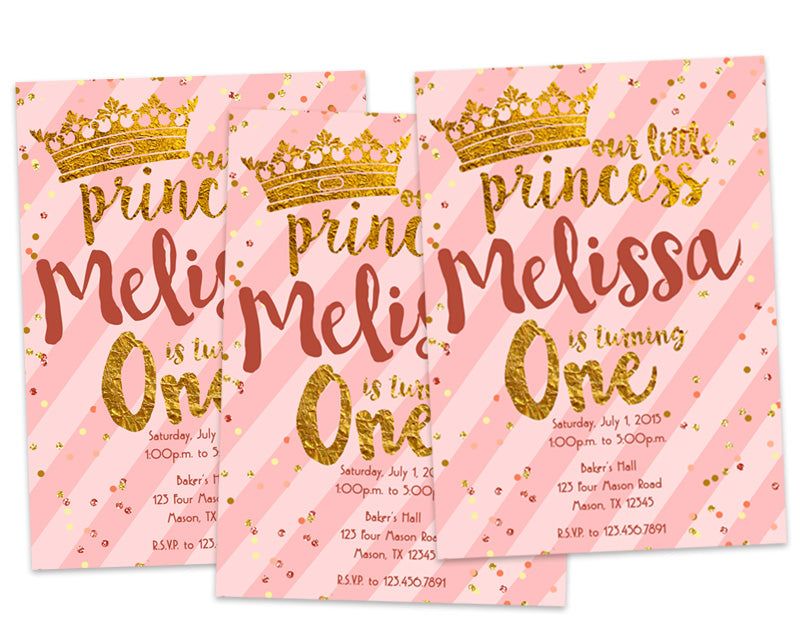 Pink And Gold Princess 1st Birthday Invitation ONE