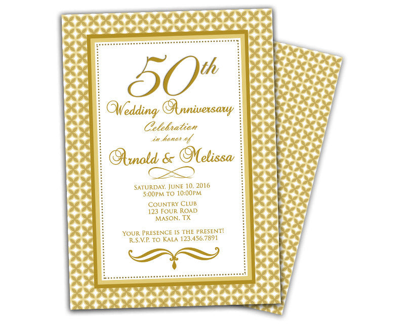 Golden Pattern 50th Wedding Anniversary Invitations Party Print