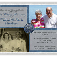 Then & Now 60th Wedding Anniversary Invitations