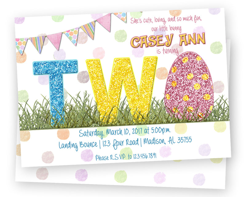 girls 2nd birthday glitter easter invitations party print express