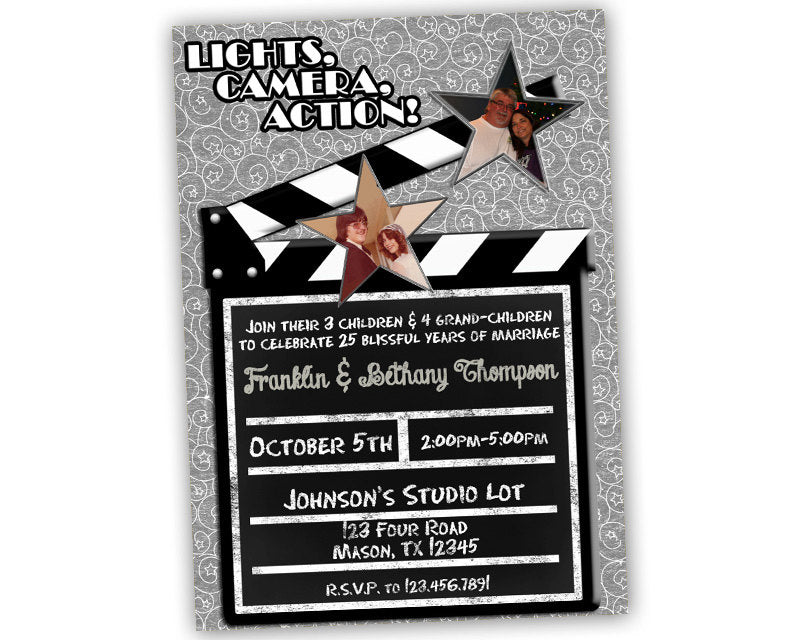 lights camera action silver 25th anniversary party invitations