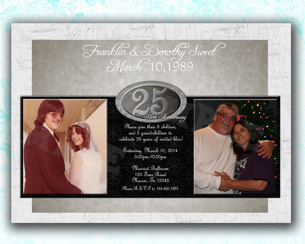 25th Wedding Anniversary Party Invitations Photo Then Now