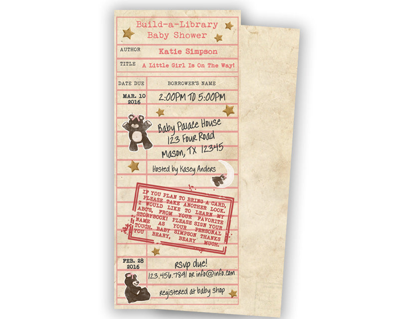 Library card baby shower invitation girls party print express baby shower invites filmwisefo