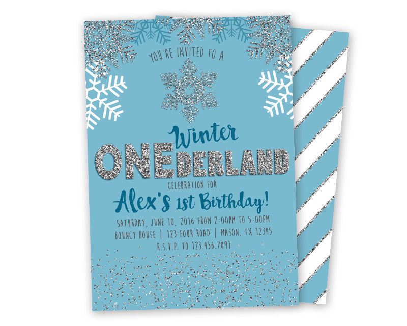 Blue Winter Onederland Invitation Party Print Express