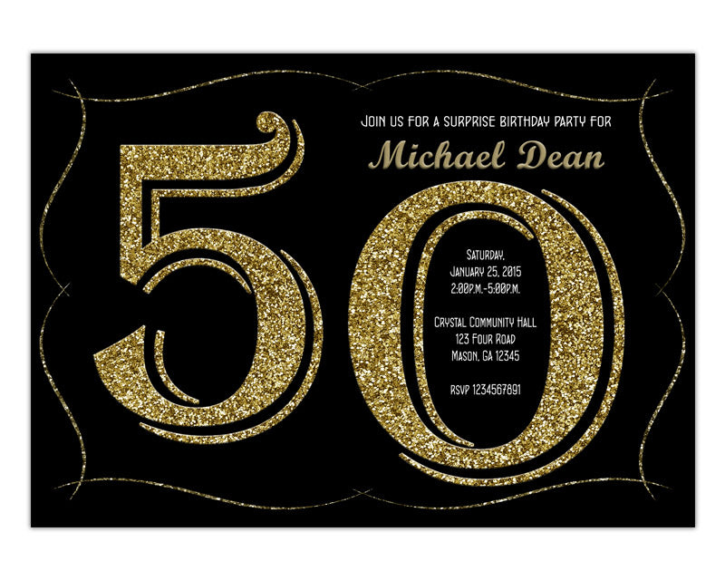 Glitter 50th Birthday Invitation