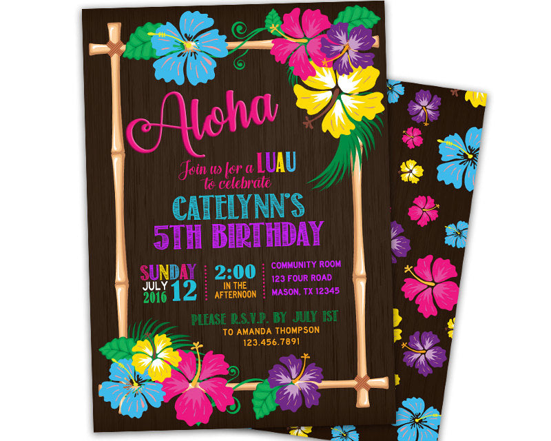 Tropical Luau Birthday Invitations Party Print Express
