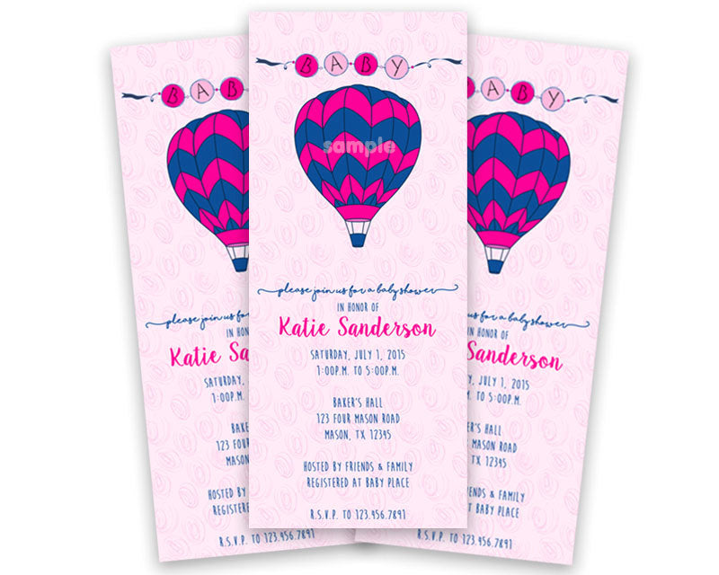 Pink Hot Air Balloon Baby Shower Invitations Vertical Party Print