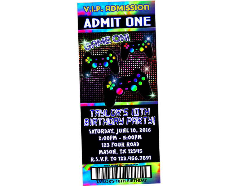 Game Truck Video Ticket Invitations