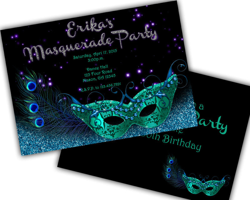 Teal Peacock Masquerade Sweet 16 Invitations