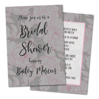 Grey Pink Peony Floral Bridal Shower Invitations
